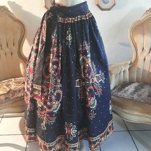 Vintage Tribal Print Navy Blue Skirt